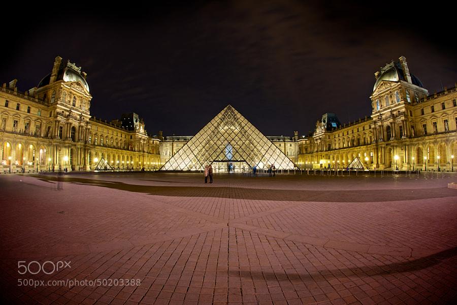 A fisheye panorama of The Louvre.