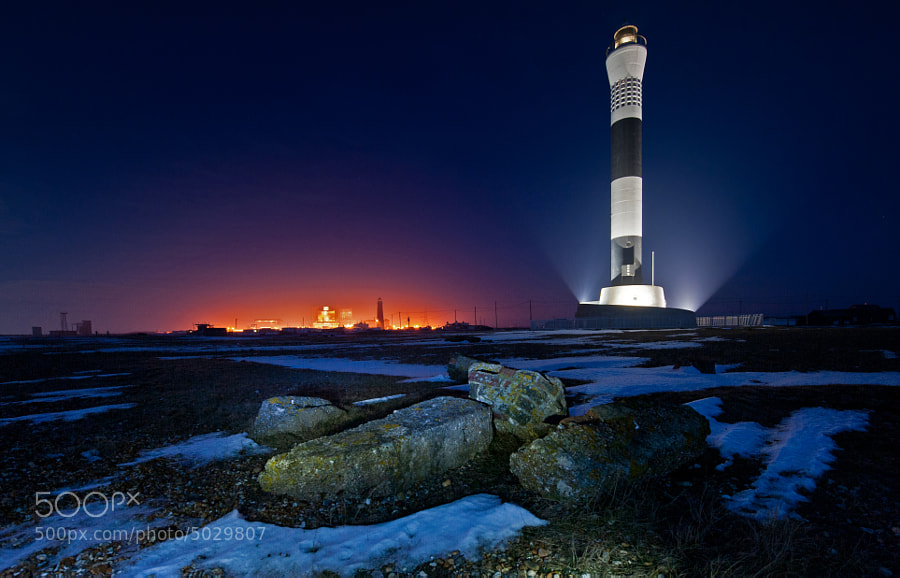 New Dungeness Lighthouse with the nuclear power station and the old lighthouse in the background