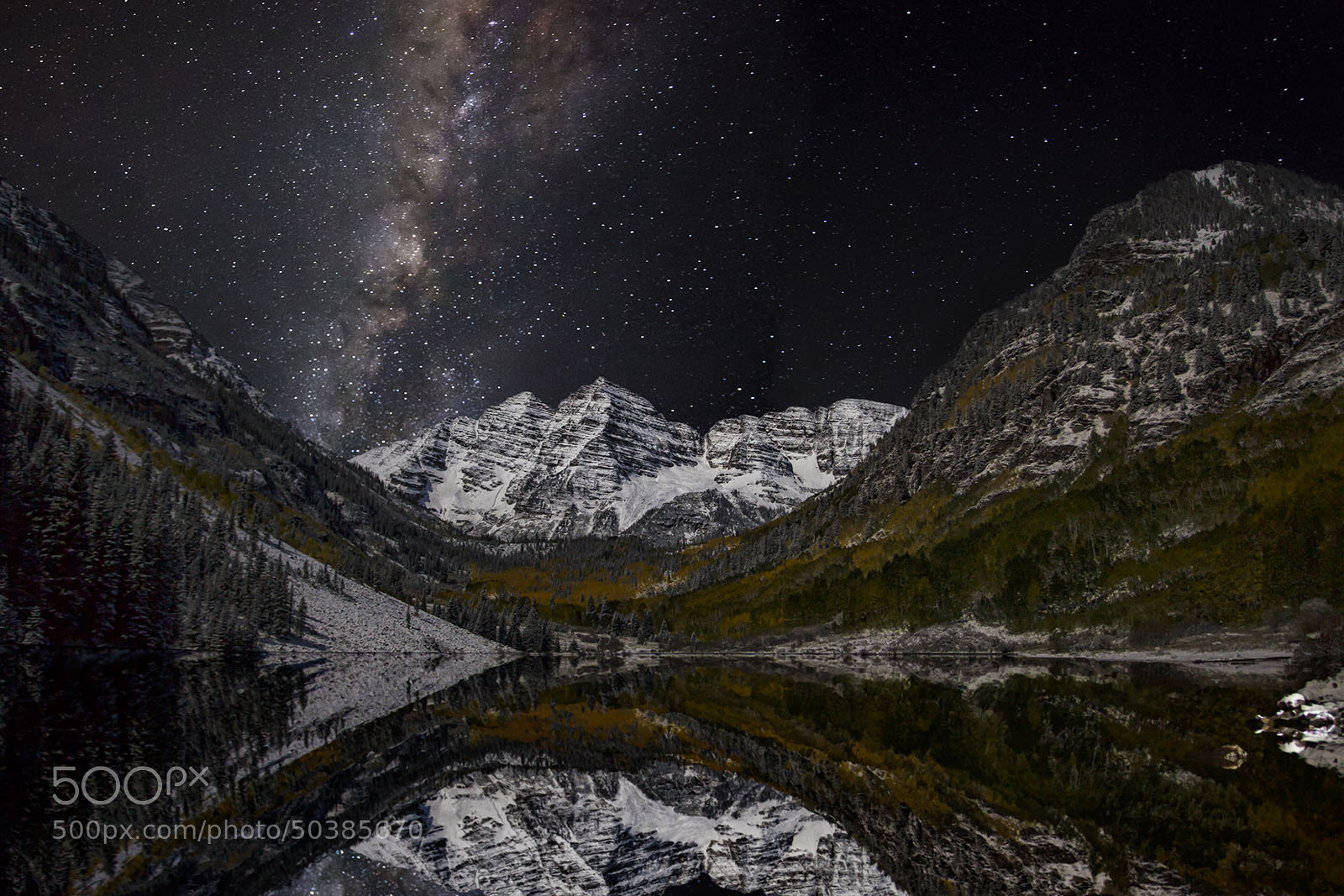 Photograph Maroon Bells at night by Brad McGinley on 500px