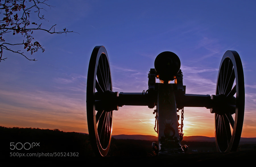 Union Canon at sunset as viewed from Little Roundtop, Gettysburg Battlefield, Pennsylvania.