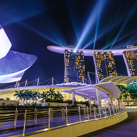 Nightly light show, Wonder Full, at Marina Bay Sands, Singapore