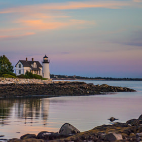 Prospect Harbor Point Light, Gouldsboro, Maine, at sunset, October 2013
