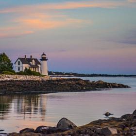 Prospect Harbor Point Light, Gouldsboro, Maine, at sunset, October 2013