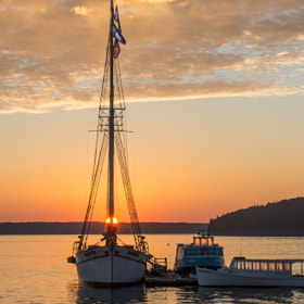 The schooner, Margaret Todd, at Sunrise in Bar Harbor, Maine, October 2013