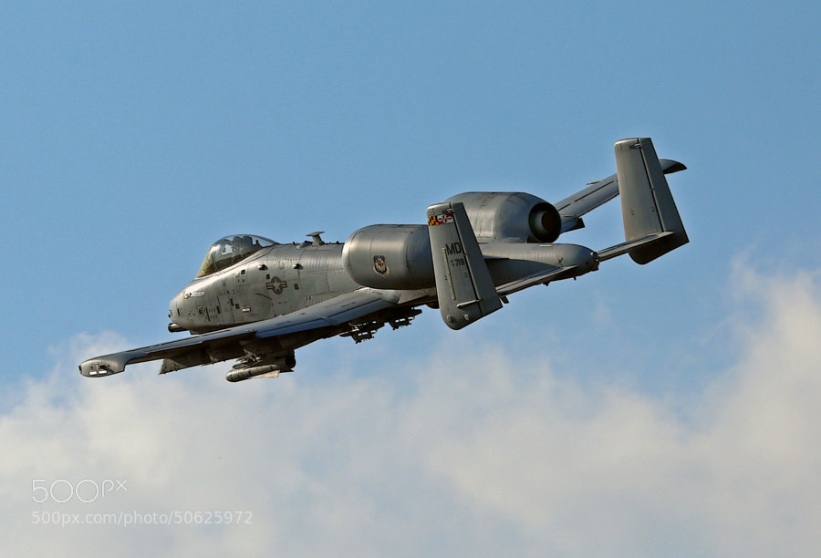 Maryland Air National Guard A-10C Warthog departing the Bomb Range, bingo fuel.