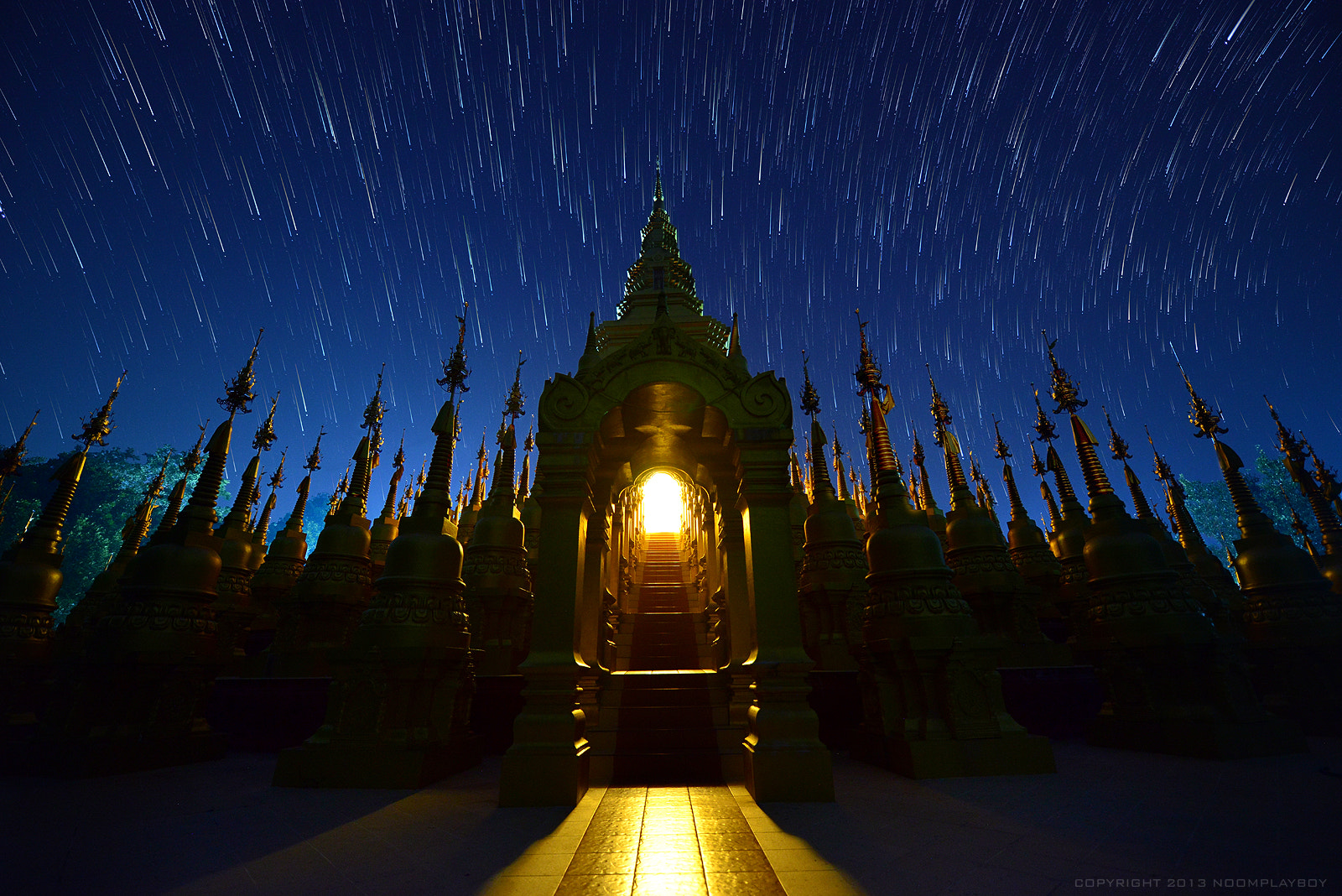 Photograph Startrails : 500 Pagoda at Thailand by noomplayboy  on 500px