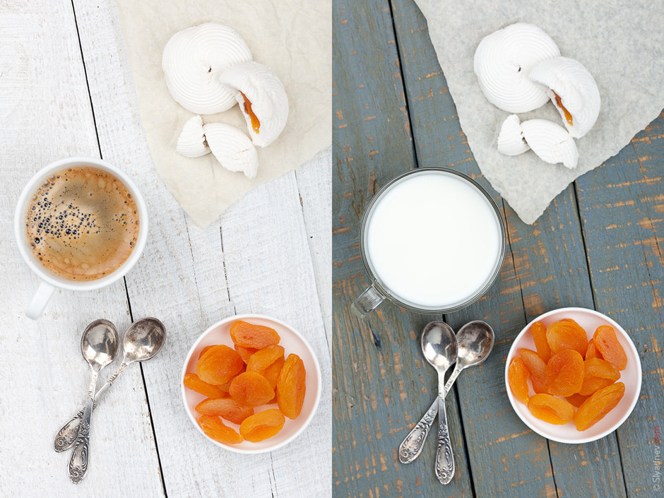 Photograph Marshmallows with dried apricots and a cup of milk. And maybe some coffee? by Aleksandr Slyadnev on 500px