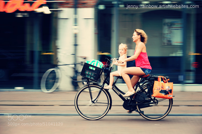 Photograph Rejecting the Automobile. Sporty Mum and Sporty Me. Amsterdam by Jenny Rainbow on 500px