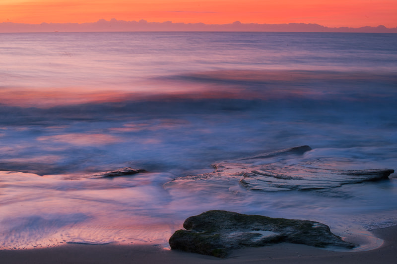 Sunrise on Coquina rocks at Fort Fisher, NC