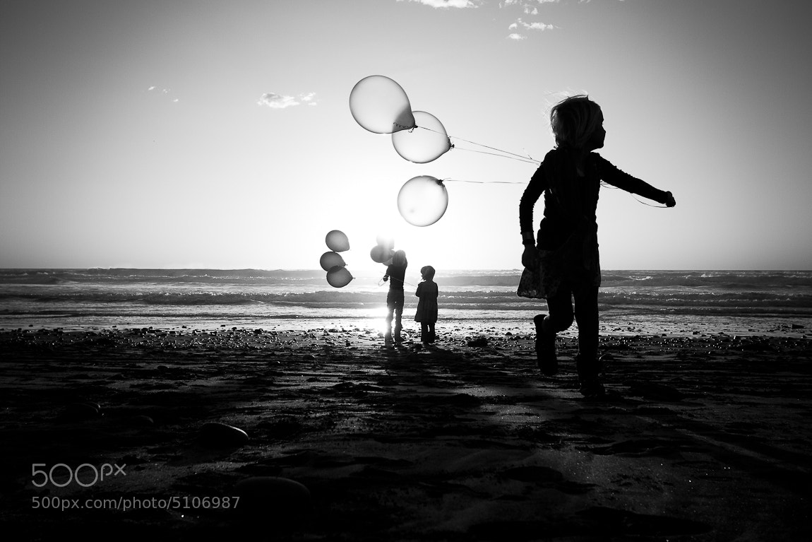 Photograph Sunset of the Beach Playing Children by Erika Thornes on 500px