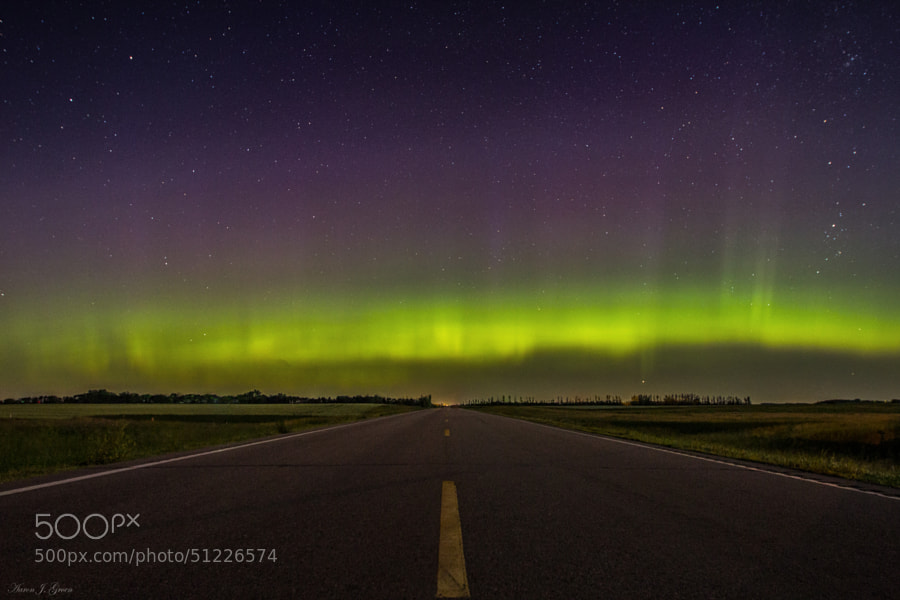 """""""Road to Nowhere - Aurora Borealis"""" Taken 6-29-2013 at 1:57am just west of Sioux Falls, South Dakota. Kp 7 Aurora Borealis   <a href=""""www.homegroenphotography.com"""" rel=""""nofollow"""">www.homegroenphotography.com</a>   <a href=""""http://www.facebook.com/HomeGroenPhotography"""" rel=""""nofollow"""">www.facebook.com/HomeGroenPhotography</a> <a href=""""https://www.google.com/+AaronJGroen"""" rel=""""nofollow"""">www.google.com/+AaronJGroen</a>"""