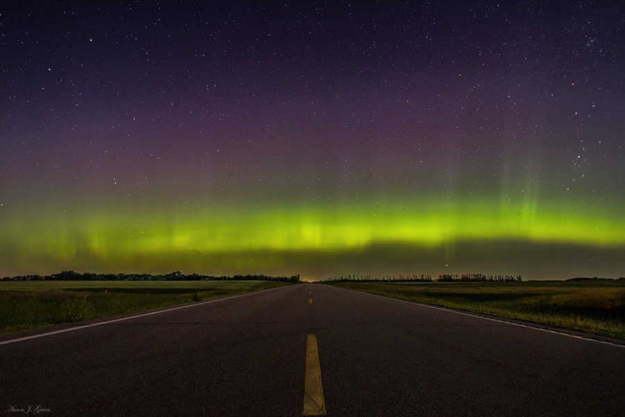 """Road to Nowhere - Aurora Borealis"" Taken 6-29-2013 at 1:57am just west of Sioux Falls, South Dakota. Kp 7 Aurora Borealis   <a href=""www.homegroenphotography.com"" rel=""nofollow"">www.homegroenphotography.com</a>   <a href=""http://www.facebook.com/HomeGroenPhotography"" rel=""nofollow"">www.facebook.com/HomeGroenPhotography</a> <a href=""https://www.google.com/+AaronJGroen"" rel=""nofollow"">www.google.com/+AaronJGroen</a>"
