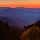 Morning breaking over the mountains at Newfound Gap in the Smokey Mountains.