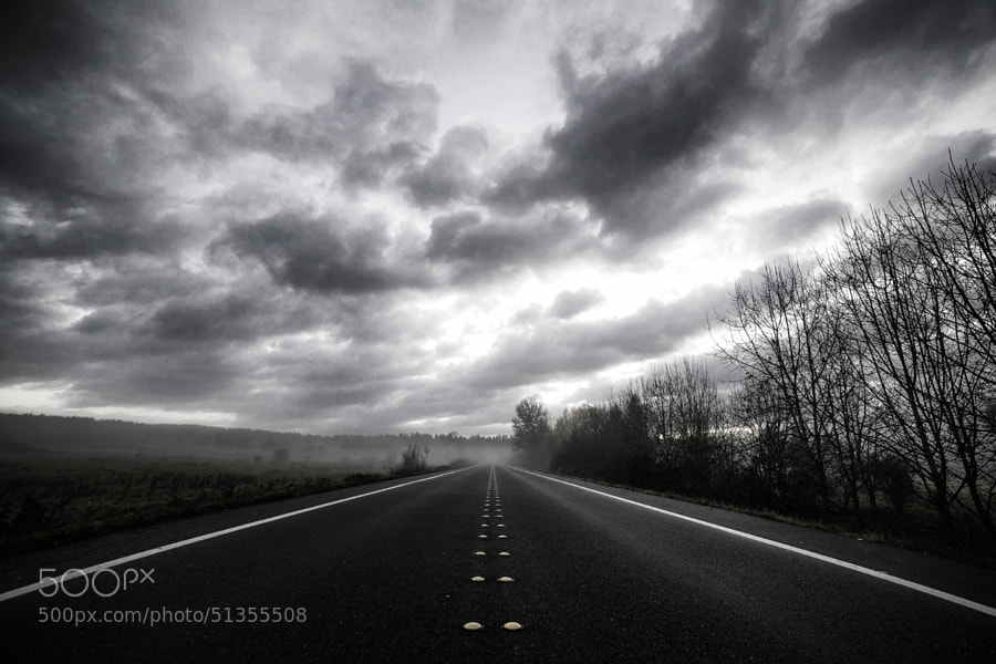Photograph Foggy Morning on the Road by Joseph Eckert on 500px