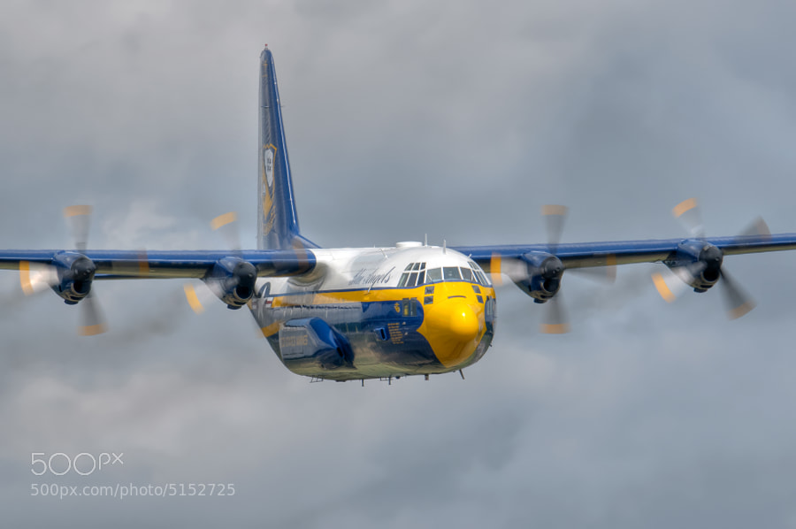 "Blue Angels C-130 Hercules known as ""Fat Albert"" performing the Flat Pass."