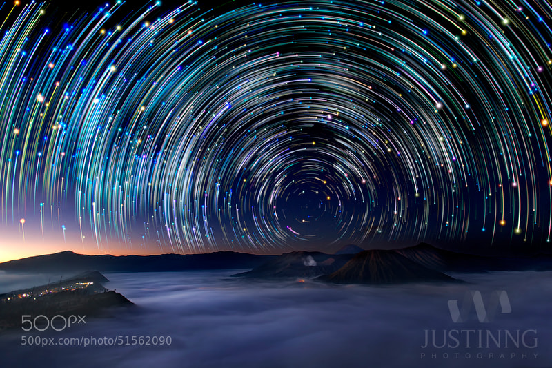 Photograph Mount Bromo Star Trails by Justin Ng on 500px