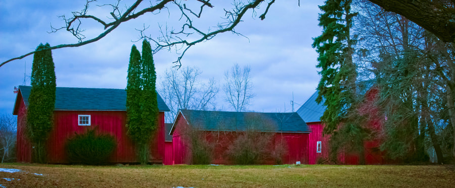 One of several farm buildings in a town known for colorful structures