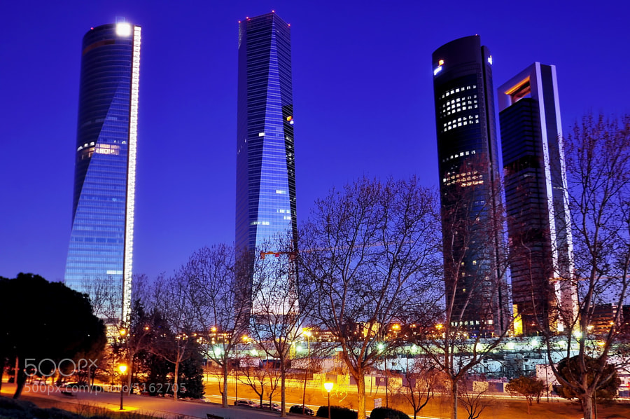 Madrid - Castellana Four Towers at dusk