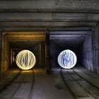 Light orbs in an underground railway.