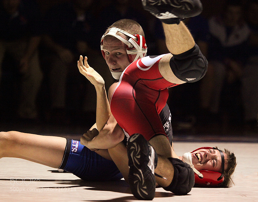 Local High School Wrestling Match which ended in a pin.