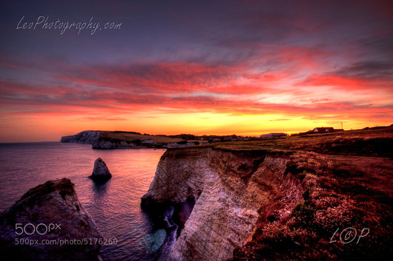 Sunset over Freshwater Bay. IOW by Lee Orchard (LeeOrchardPhotography)) on 500px.com