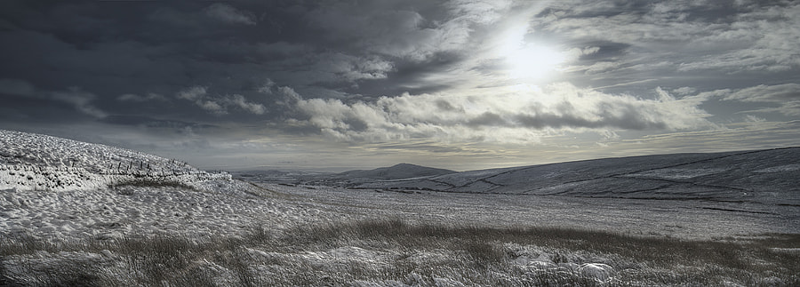 A panoramic view of Gradbach from Wildboarclough in the Peak District