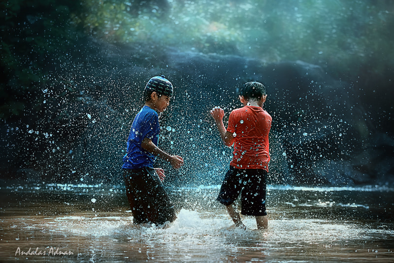 Photograph Playing in river by Andalas Adnan on 500px