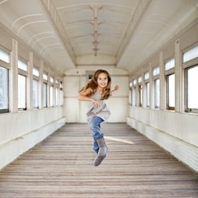 Happy running girl in an old train by Joanne Leung (JoanneLeung) on 500px.com
