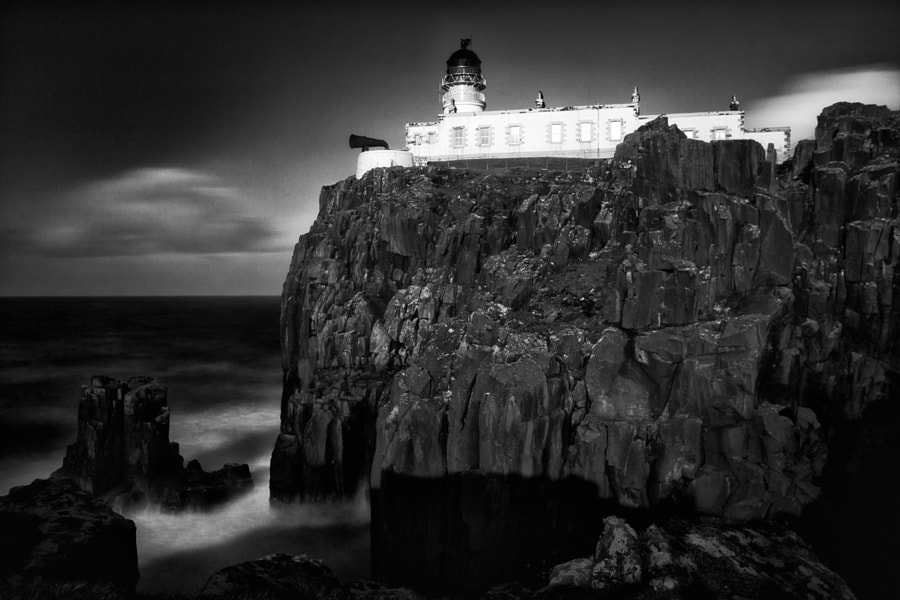 Gale force winds at Neist Point Lighthouse, Isle of Skye, Scotland