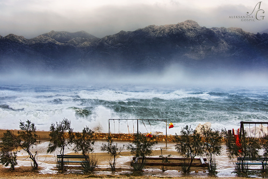 Disintegration of the sea in the Velebit Channel under the gusts of the playful hurricane force Bura wind, a crazy daughter of the father Velebit (mountain). Gust were exceeding 200km/h