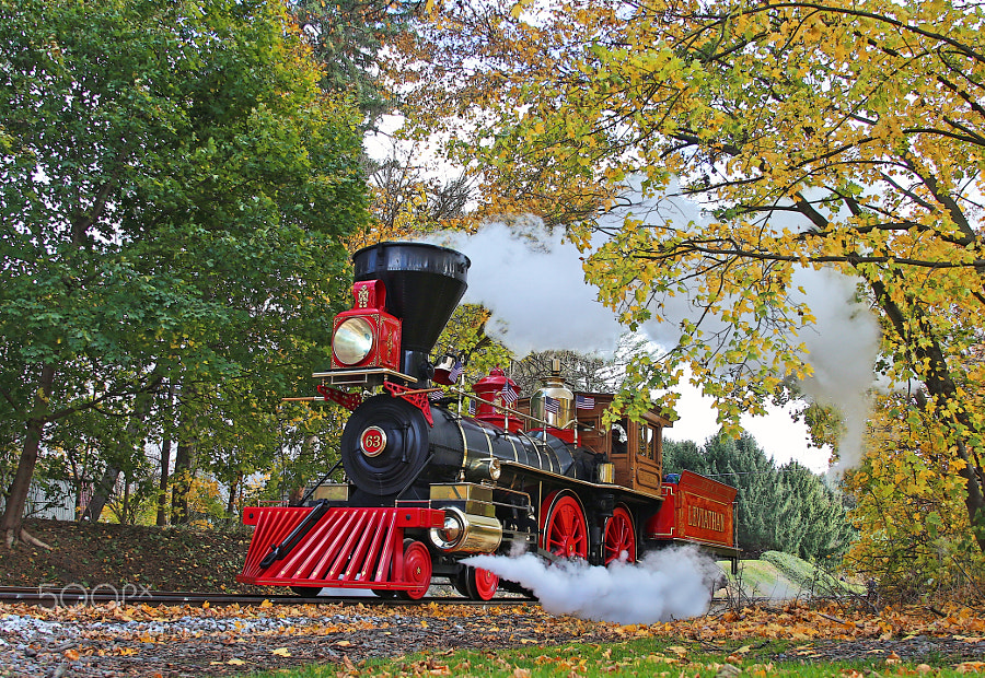 The LEVIATHAN is America's newest built operating steam locomotive.  It replicates the Leviathan #63 originally built in 1868 for the Central Pacific Railroad.  It is seen here on 13 November 2013 arriving at Hanover Junction, York County, Pennsylvania.  This is the same location where President Abraham Lincoln changed trains while traveling from Washington to Gettysburg to make the Gettysburg address.
