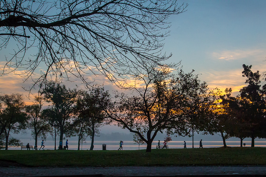 It is a beautiful day for watching the sun come up in Founders Park.