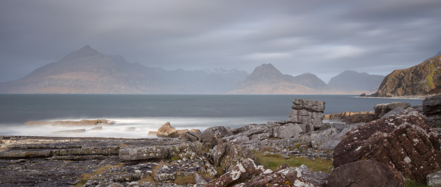 Long exposure of Elgol beach with the Cuillins in the background.