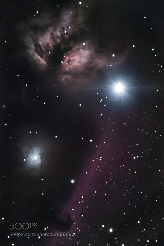 Photograph Flame & horse head nebula by Jakob Halskov on 500px