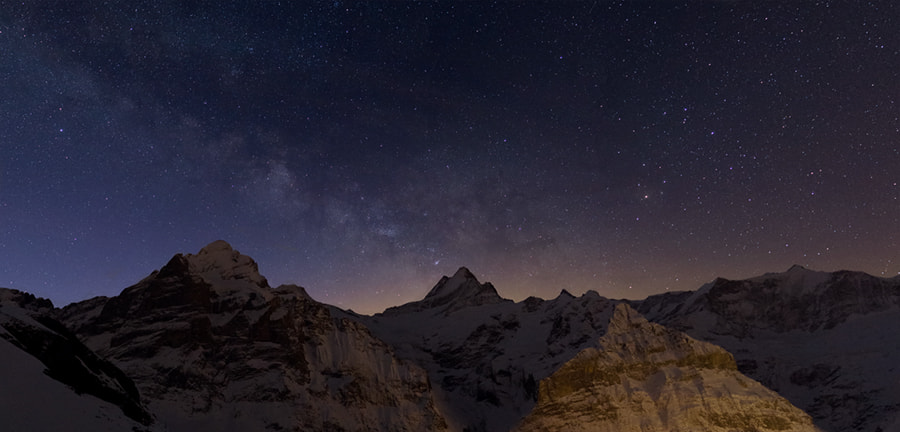 Photograph Milky Way above the Wetterhorn and the Schreckhorn by Gilles Monney on 500px