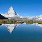 The Matterhorn, Switzerland reflected in Riffelsee Lake.