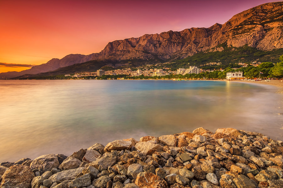 The famous Croatian riviera at sunset,Makarska,Dalmatia,Croatia by Janos Gaspar on 500px.com