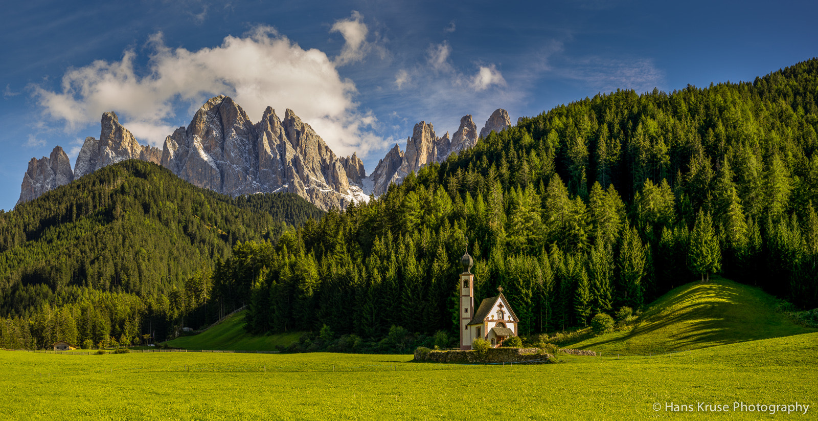 Photograph Odler/Geisler mountains behind Sct. Johann Church in Val di Funes by Hans Kruse on 500px