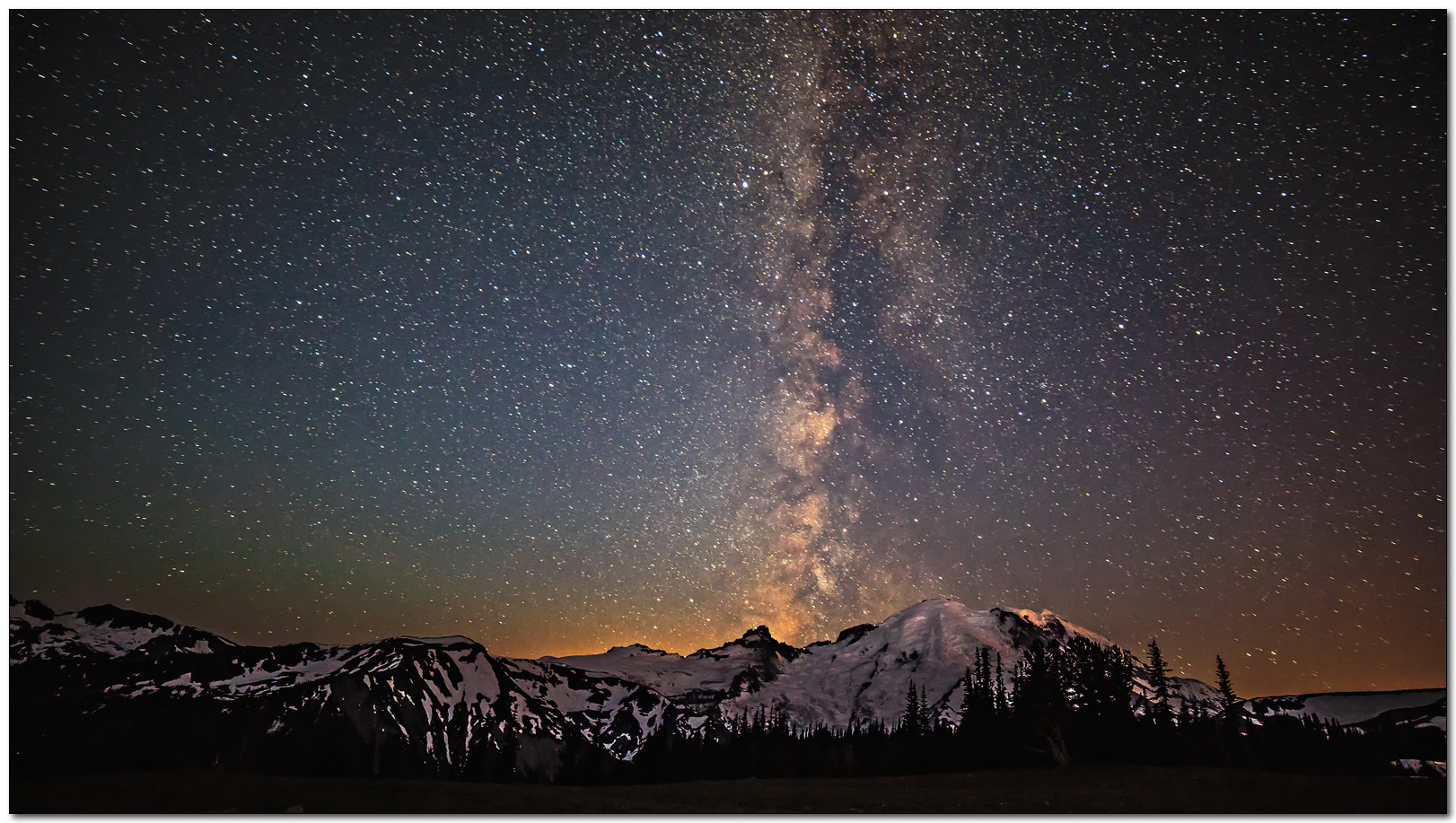 Photograph Milky Way over Mt. Rainier by Jameel Hyder on 500px