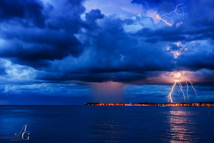 Twilight concert at lightning minor northwest of Zadar, as the low pressure Zlatka moves inland from the Adriatic sea