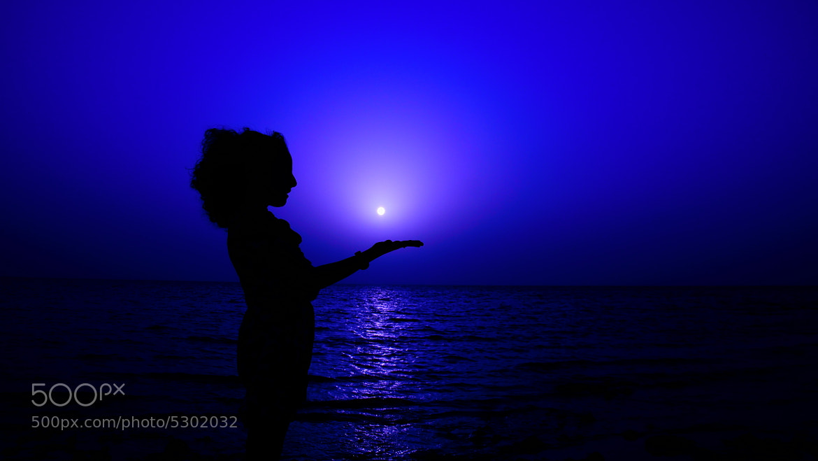 Photograph Moon and Girl by Mohammed Abdo on 500px