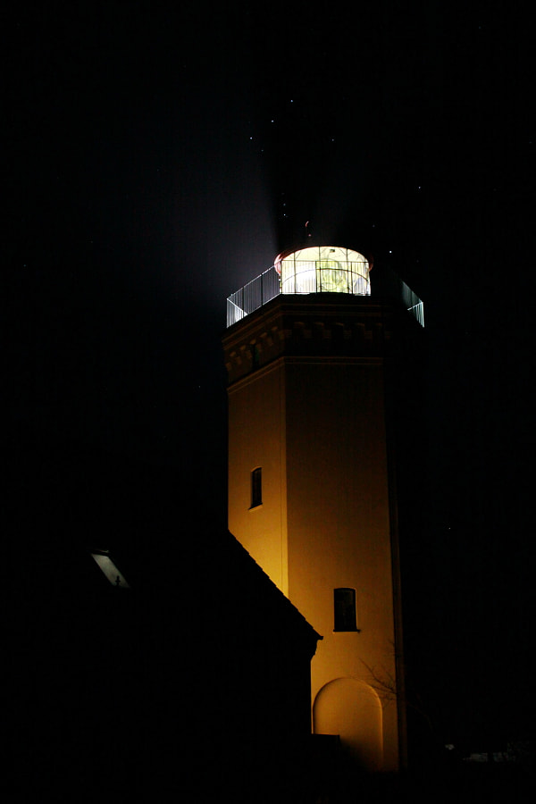 NIghtshot of the most South placed lighthouses in Denmark