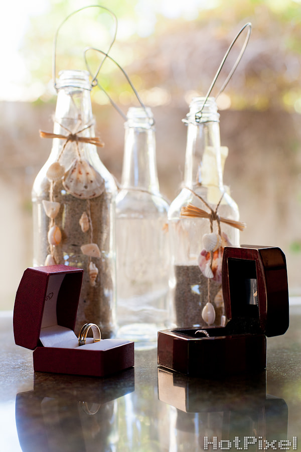 The bottles of sand played a large role through the ceremony, symbolizing the amalgamation of the two families by bringing together sand from the different homes