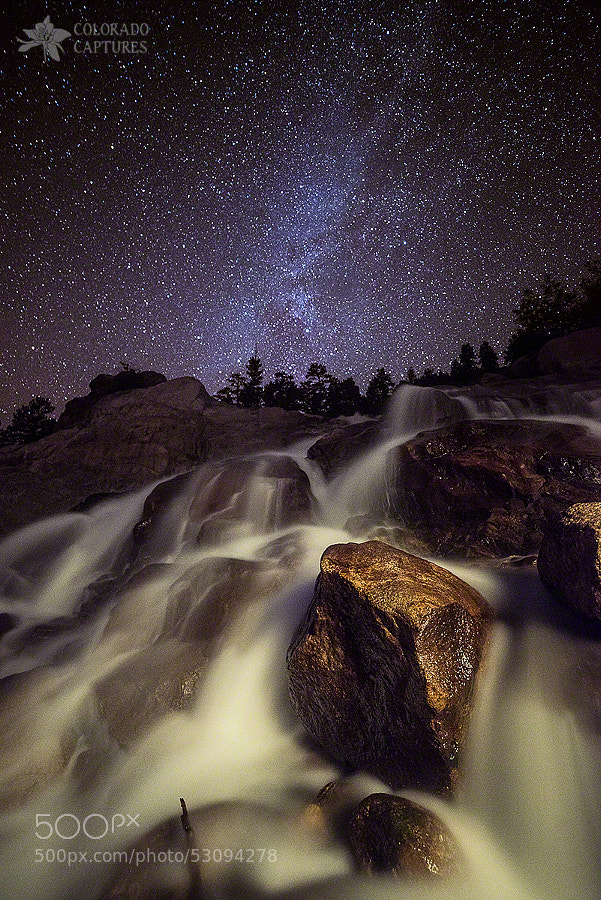 Photograph Starry Night Waterfalls In Rocky Mountain National Park by Mike Berenson - Colorado Captures on 500px