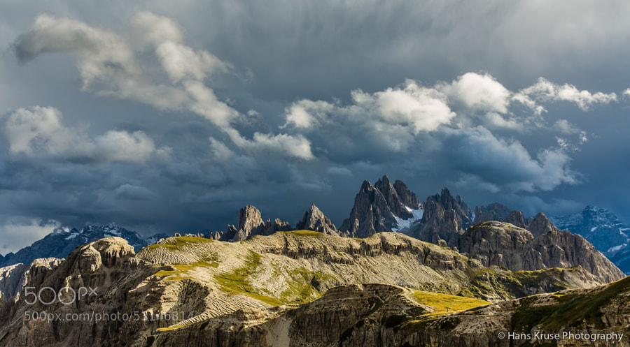 This photo was shot at Tre Cime di Lavaredo during the Dolomites East September 2013 photo workshop that I was leading with a group of 9 photographers from Belgium, Denmark, Spain, Germany, Finland and Switzerland.  Please find the description of the photo workshop in September 2014 in the same area here http://www.hanskrusephotography.com/Hans-Kruse-Photo-Workshops/Dolomites-East-September-2014/n-2WJ4r