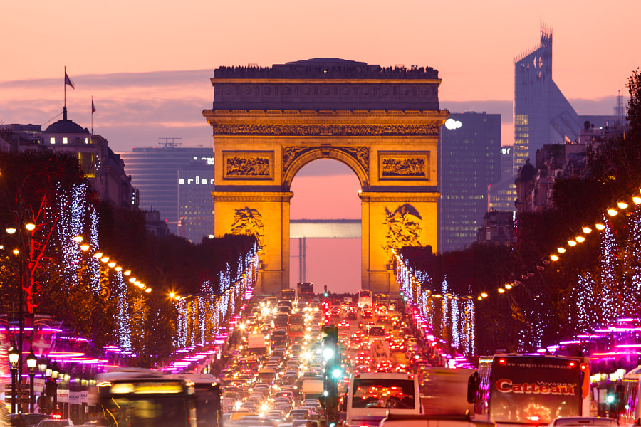 Champs-Elysees avenue with christmas 2012 lights at dusk