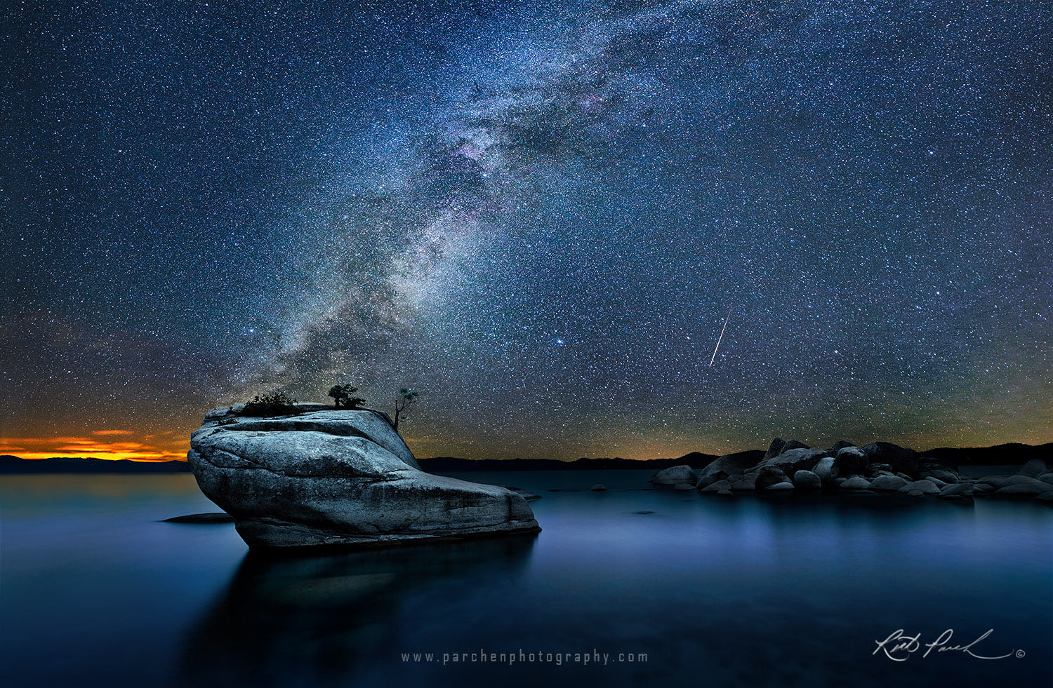 Meteor And Milky Way Over Bonsai Rock Lake Tahoe By Rick Parchen 500px