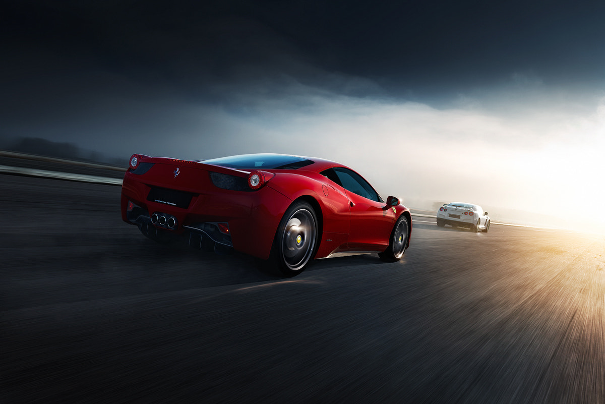 Photograph Ferrari 458 Italia vs Nissan GT-R by Thomas Larsen on 500px