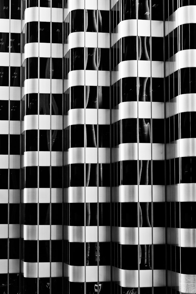 Photograph Abstract patterns in a building along San Francisco's Market Street – Black and White conversion.  2 by MacNeil Fernandes on 500px