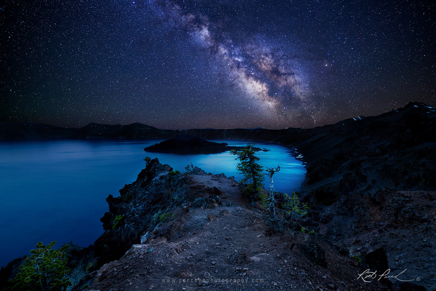 Photograph Starry Night over Crater Lake by Rick Parchen on 500px